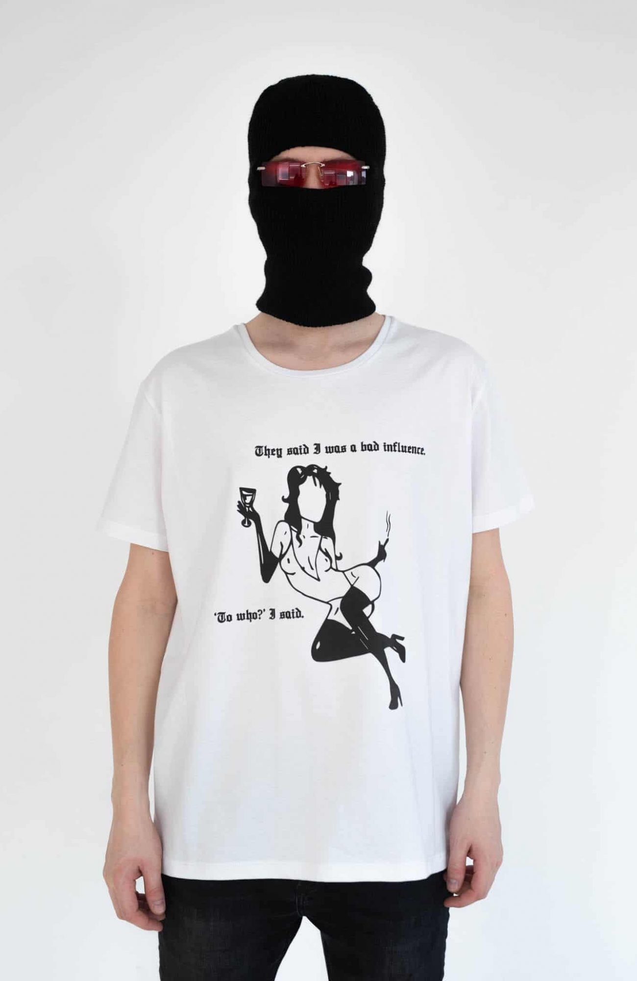 bns white bad influence tee